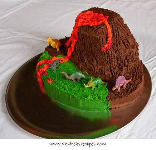 Volcano Birthday Cake Volcano Birthday cakes and Chocolate volcano