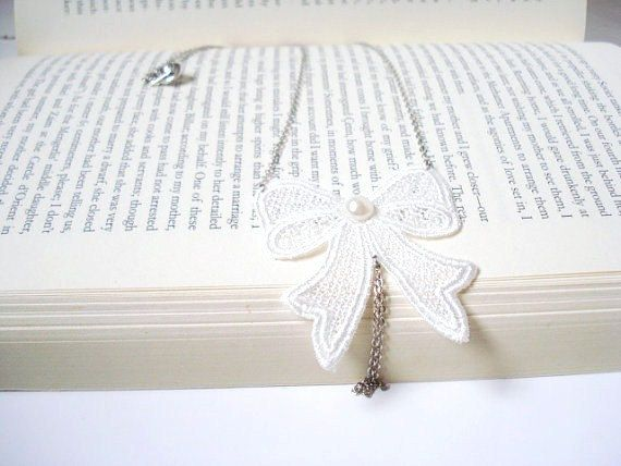 Lace Necklace Women accessory  Ivory Bow by MyWeddingDream on Etsy, $19.00
