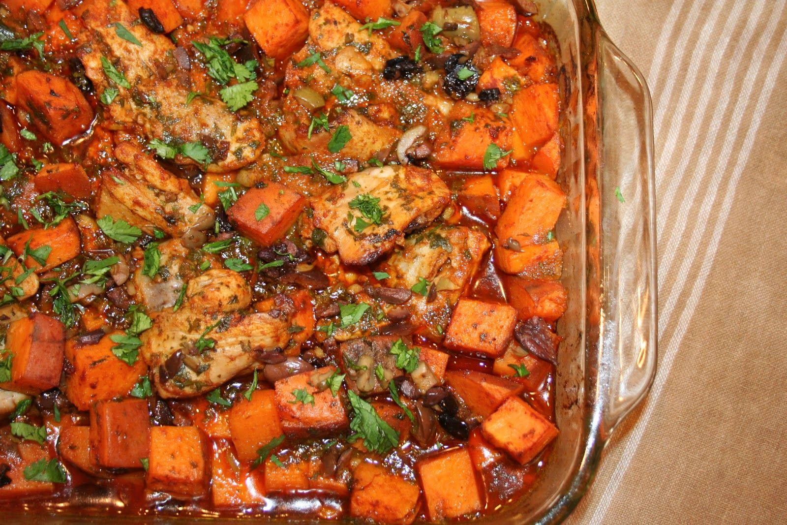 Chili-Citrus Chicken with Sweet Potatoes & Olives