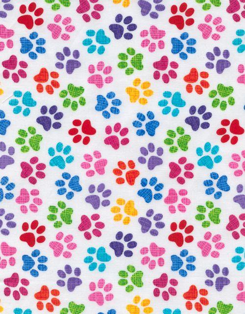 Dog Paw Print Fabrics Mutli Colored Rainbow Dog Paw Prints White Craft Fabric Paw Wallpaper Paw Print Image Dog Paw Print