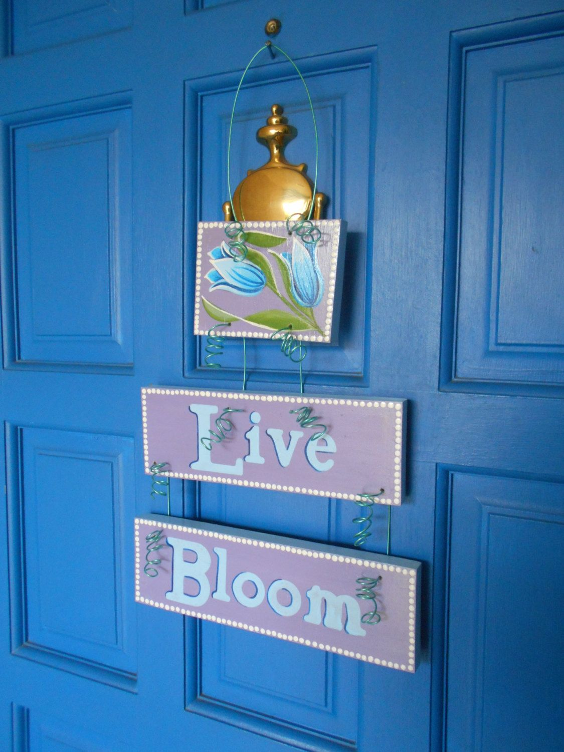 spring plaque, garden decoration, door art, hand painted sign