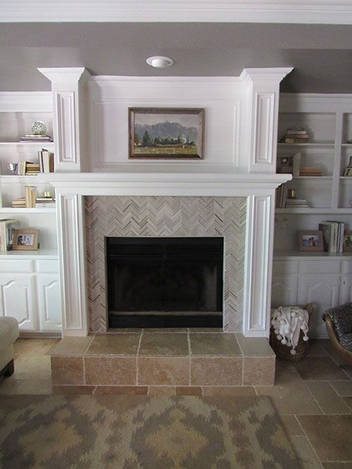 Tile Fireplace Mantels tile over a brick fireplace, herringbone fireplace tile, fireplace
