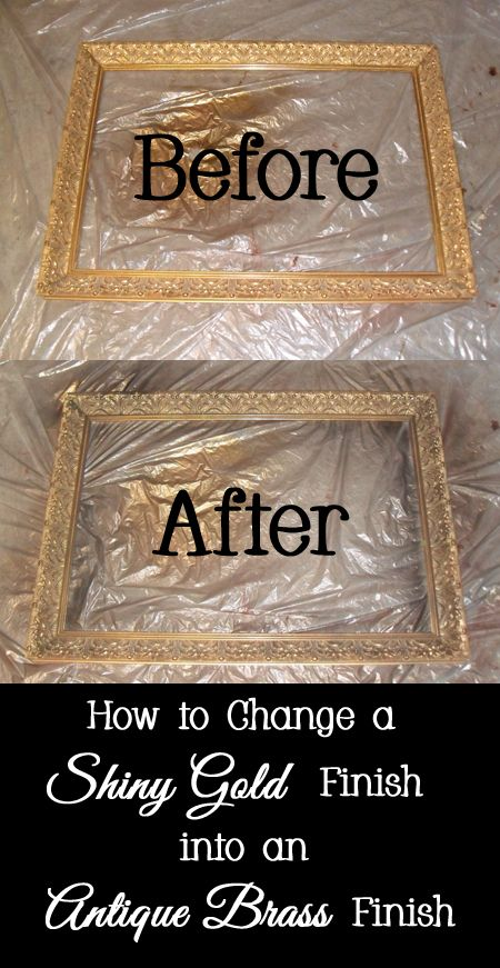 How To Change A Shiny Gold Finish Into An Antique Brass Finish Antique Gold Mirror Painting Mirror Frames Gold Framed Mirror