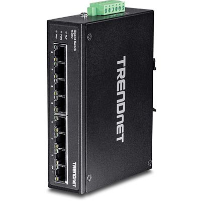 TRENDnet | Products | TI-G80 | 8-Port Hardened Industrial Gigabit DIN-Rail Switch