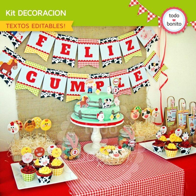 Granja niños decoración de fiesta para imprimir Todo Bonito animales Pinterest Farm party