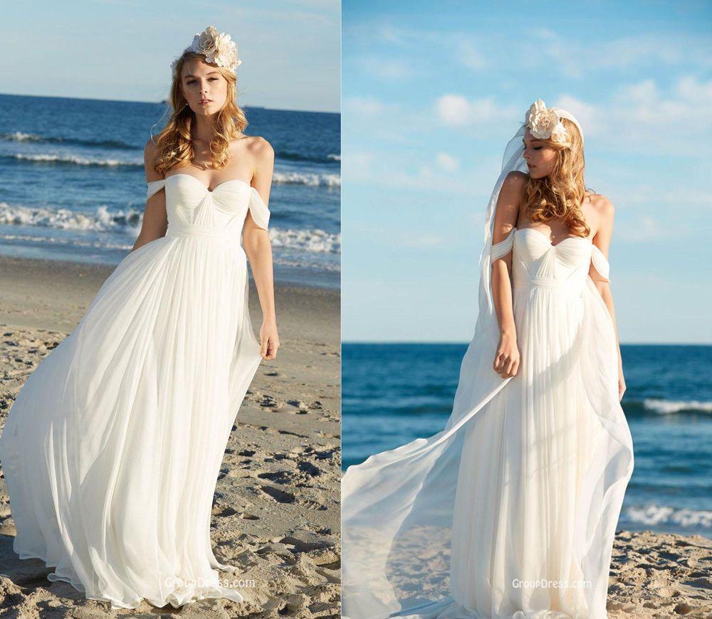 Off-shoulder Chiffon Beach Boho Wedding Dress Bohemian Ball Bridal ...