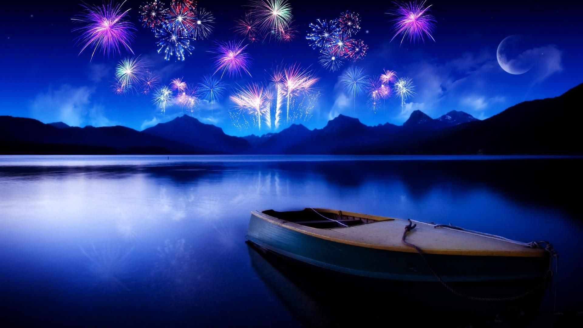 cool bright twilight fireworks lake desktop backgrounds widescreen