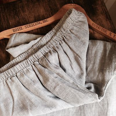 Chalet-USA-Light-Lined-Linen-Crop-Pants-w-Slit-Gray-Size-Small-Artsy-Comfy