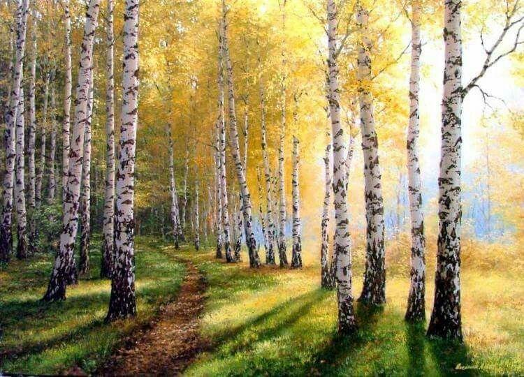 Pin By Rimute Sereikiene On Akvarelei Tree Painting Landscape Birch Tree Painting