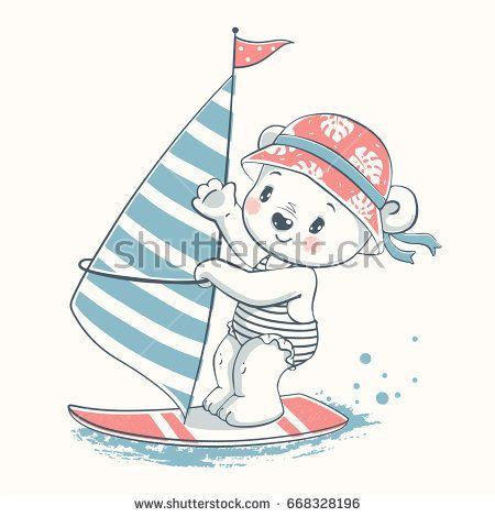 b176c1ff2cde Cute baby bear windsurfer cartoon hand drawn vector illustration ...