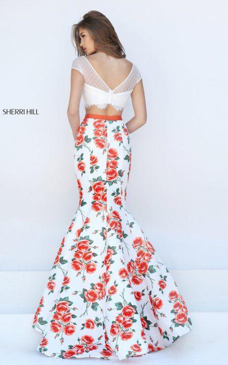 Cap Sleeve Sherri Hill 50421 Orange Print Lace Mermaid Prom Dress