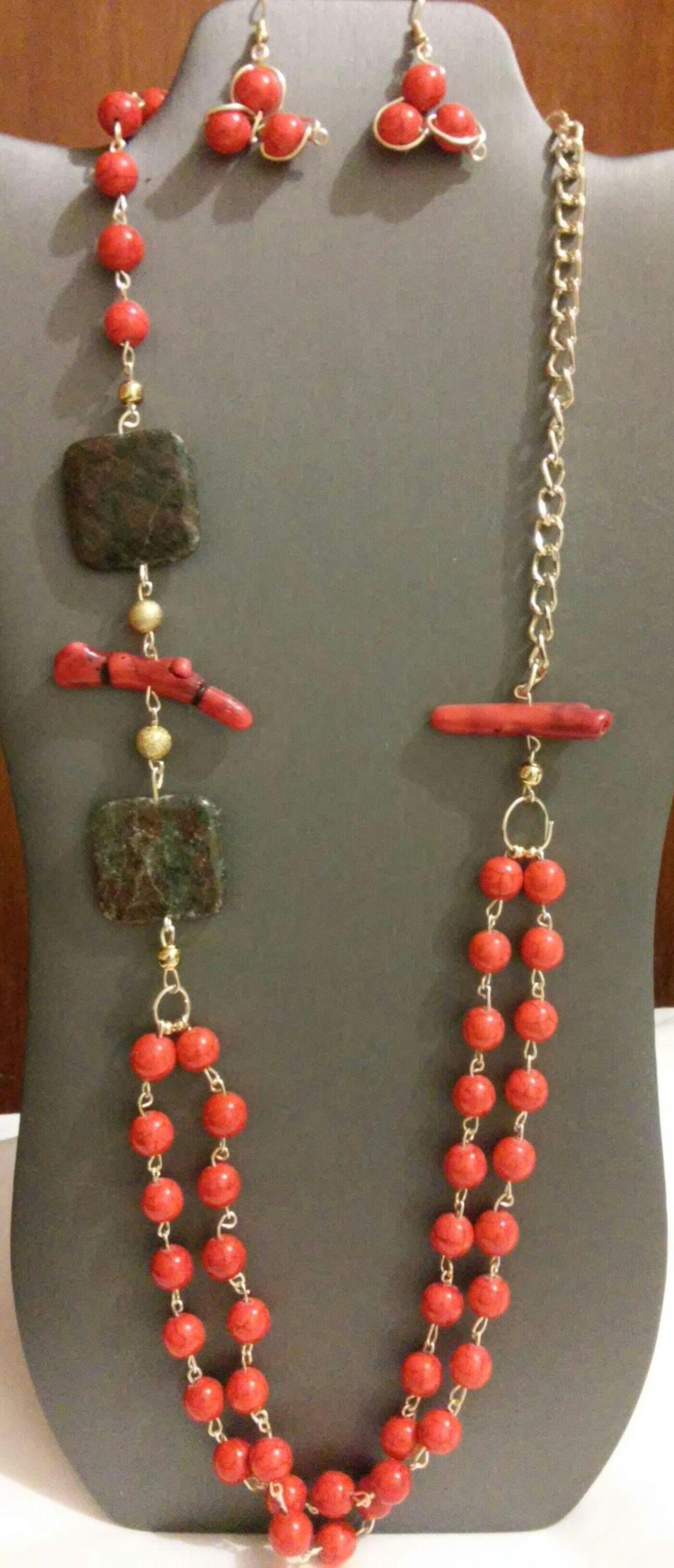 5049a0d6e84d Collar largo en alambrismo con agata roja