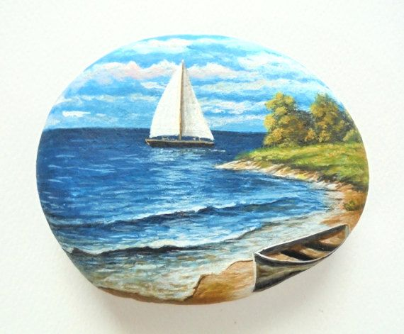 Landscape Rock Painting with Boat on the Beach! Painted on a Sea Stone with Acrylic Paints and Finished with Glossy Varnish Protection