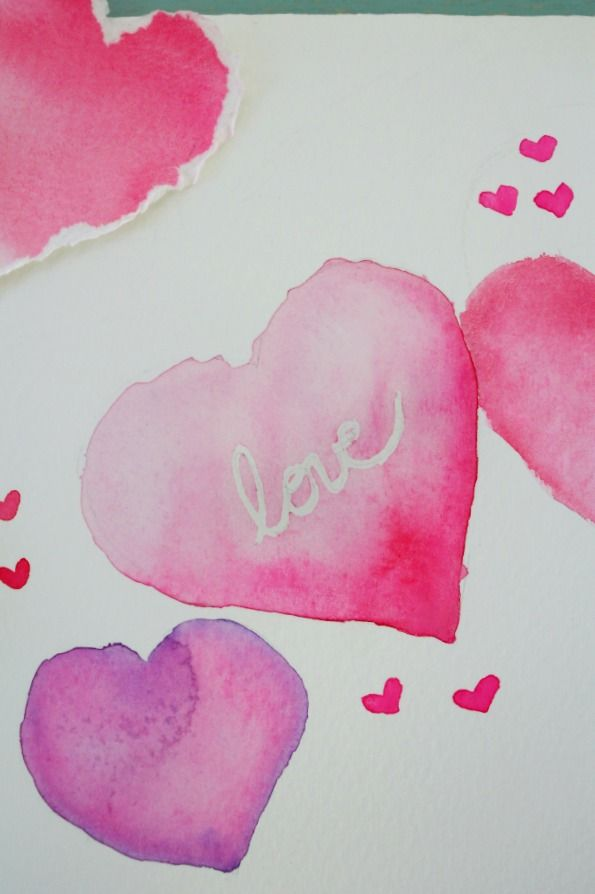 Watercolor Hearts Valentine S Day Card Valentines Watercolor