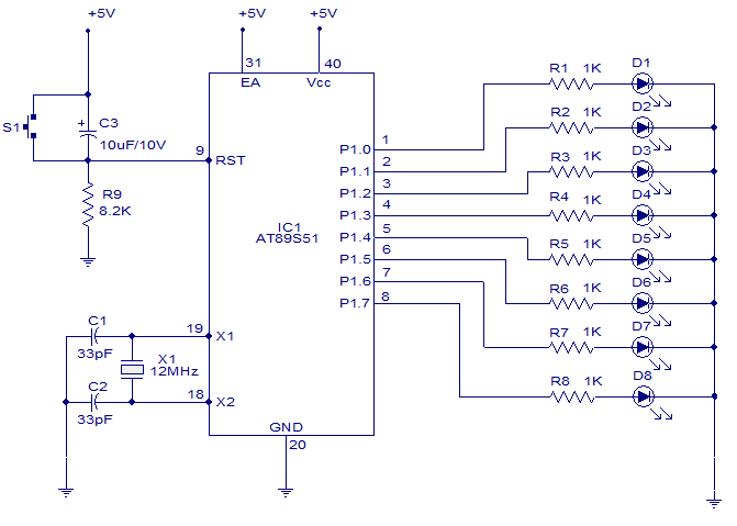 two transistor led8217s flasher new model wiring diagramled chasing circuit diagram led chasing circuit using at89c2051light chaser 8051 8051 simple circuit software circuit