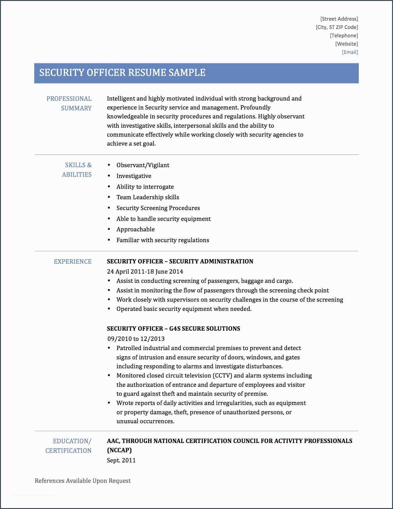 bestsecurity resume sample