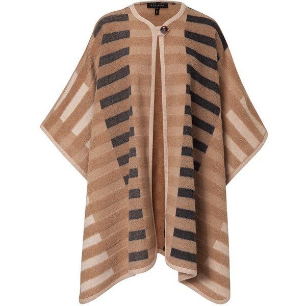 ESCADA Cape Capey ($2,495) ❤ liked on Polyvore featuring outerwear, caramel, cape coat, escada, camel cape coat, knit cape e camel cape