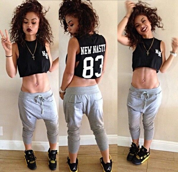 pants india westbrooks sweatpants black crop top j's a beauty not a beast! shirt  shoes t-shirt crop top, black, india westbrook grey sweatpants blackshirt