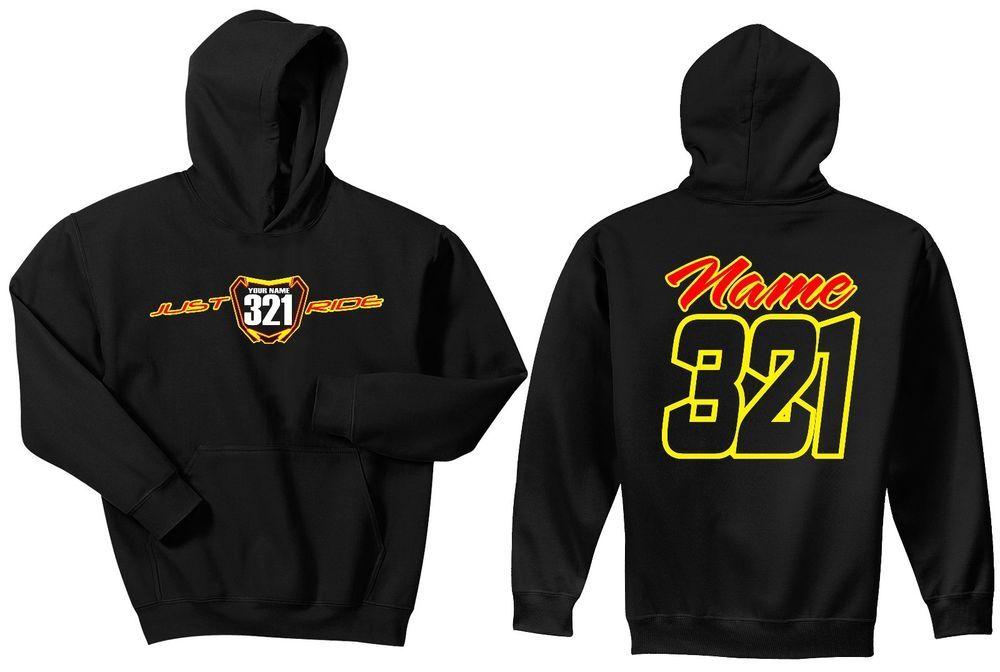 Kids Custom Motocross Hoody Personalised MX Racing Hoody Name and Number