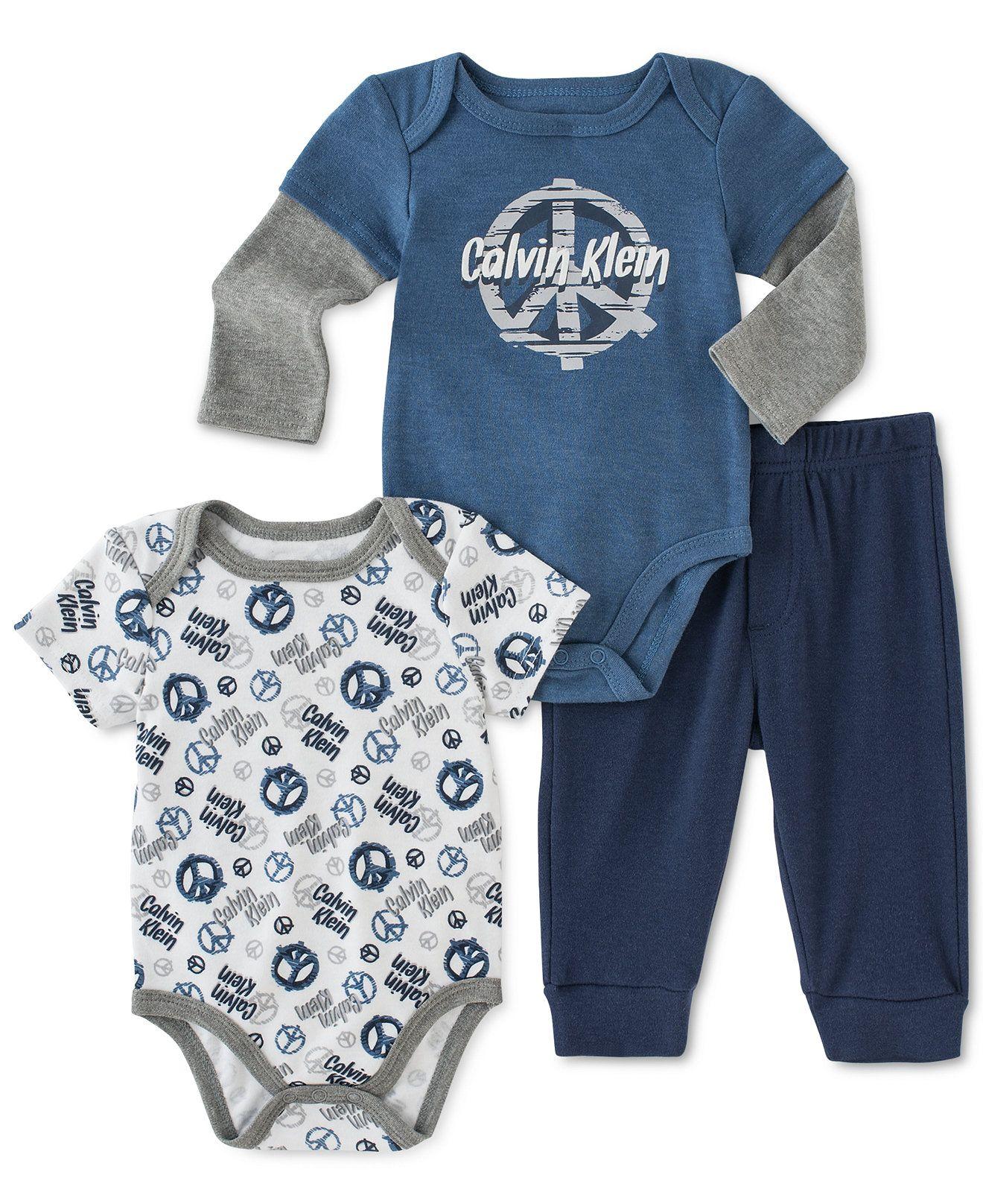 ec016f7fd863 Calvin Klein Baby Boys  3-Piece Printed Bodysuit