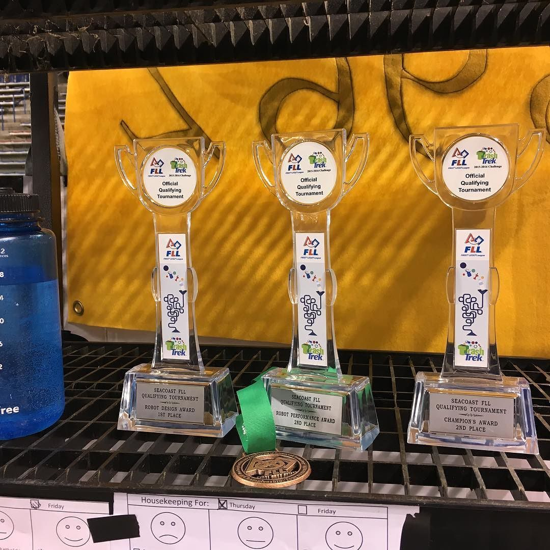 Trophies in the pit on display! #frc5902 #frc #omgrobots #newheights #fll