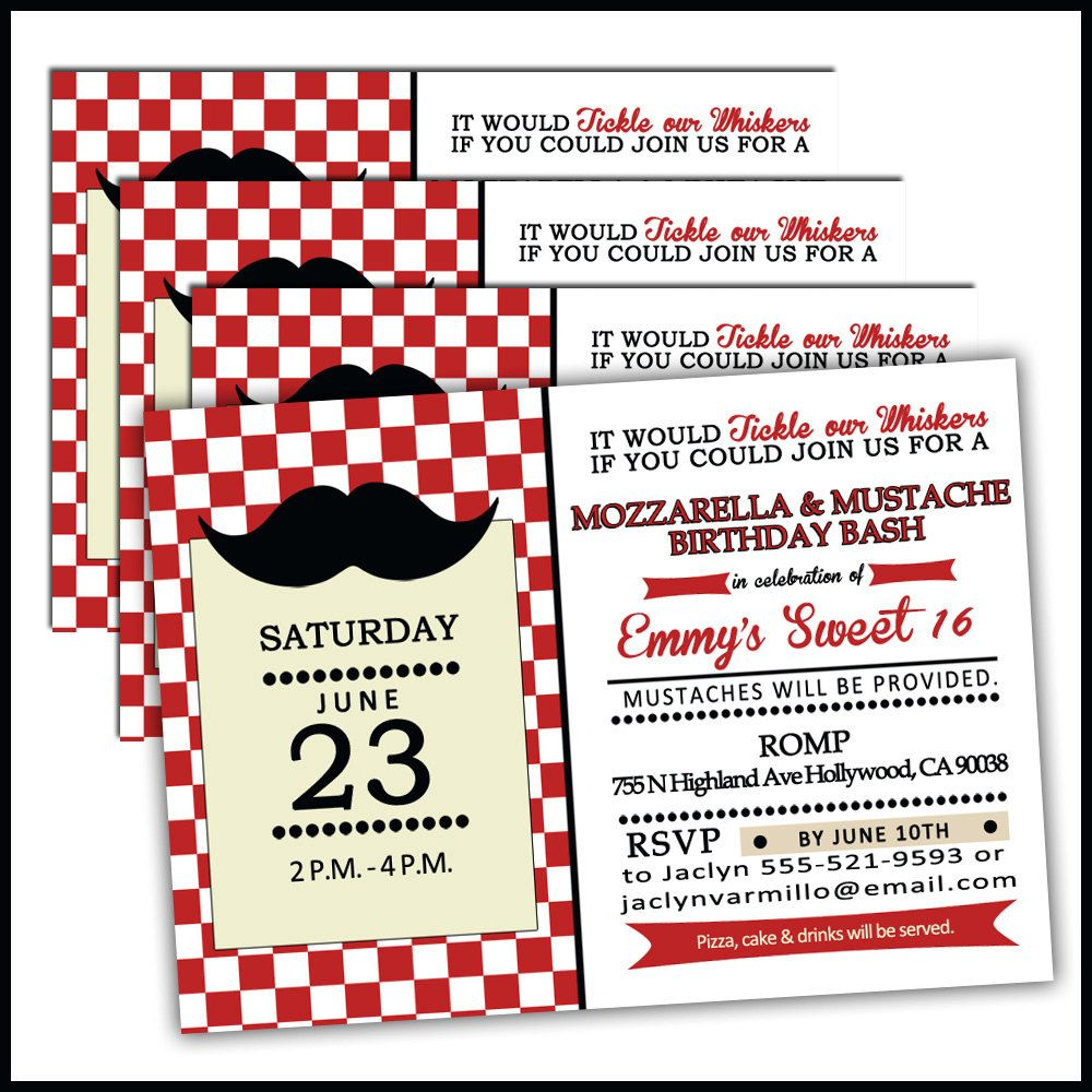 Mustache & Mozarella Birthday Invitations for Pizza Party Mustache ...