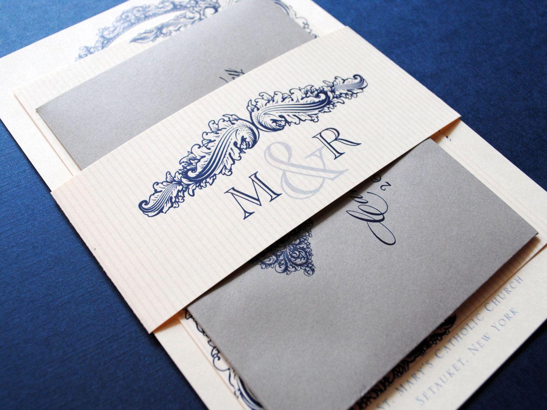 Wedding Invitations Blue Vintage Invitation With Belly Band Navy Gray Grey 6 00 Via Etsy