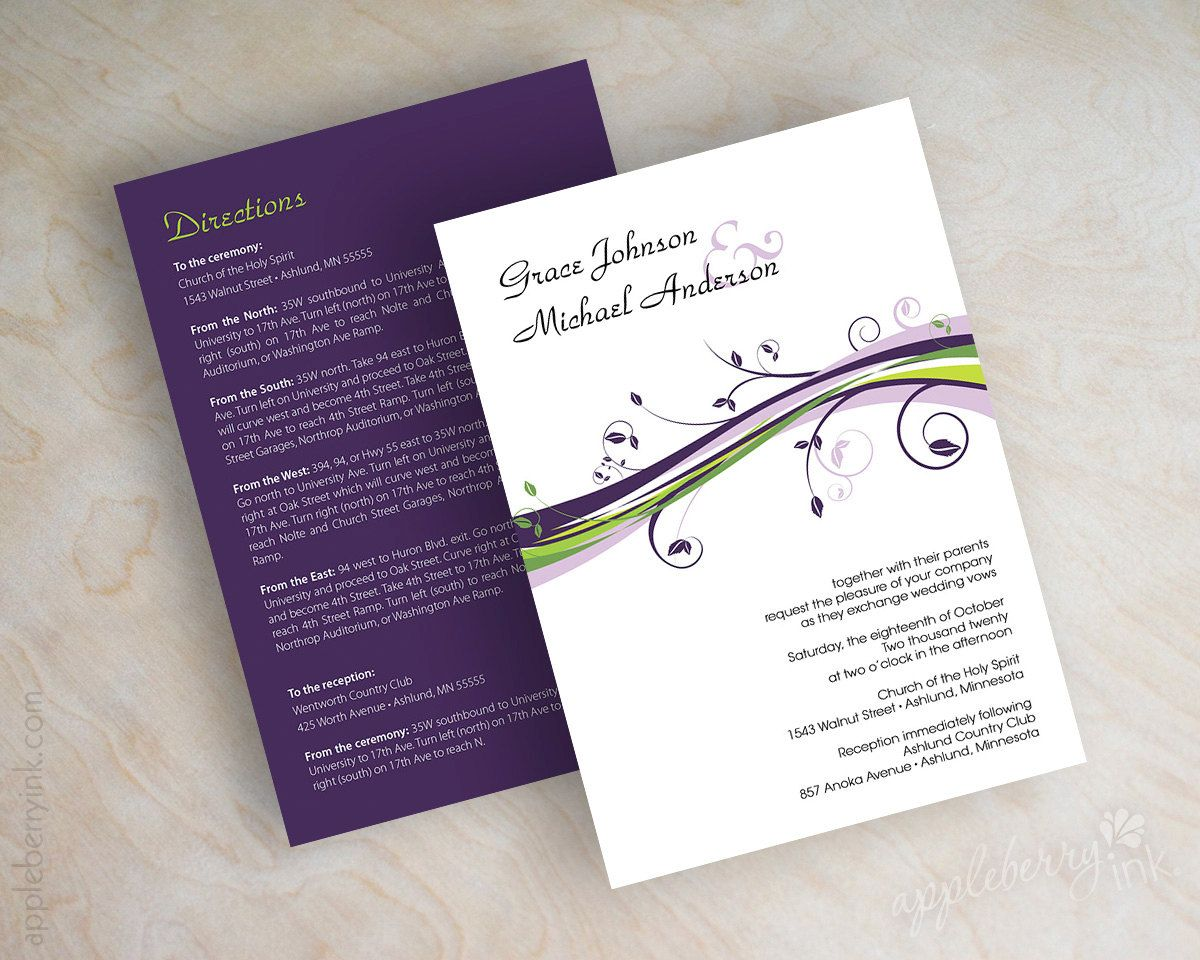 lavender wedding invitations Wedding invitations contemporary swirly floral vines in eggplant lavender lime green and black