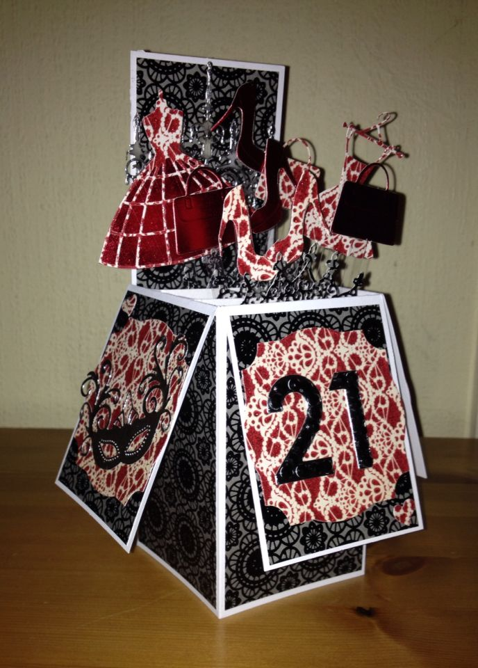 21st Birthday Pop Up Card Made Using A Selection Of Memory Box Tattered Lace Dies