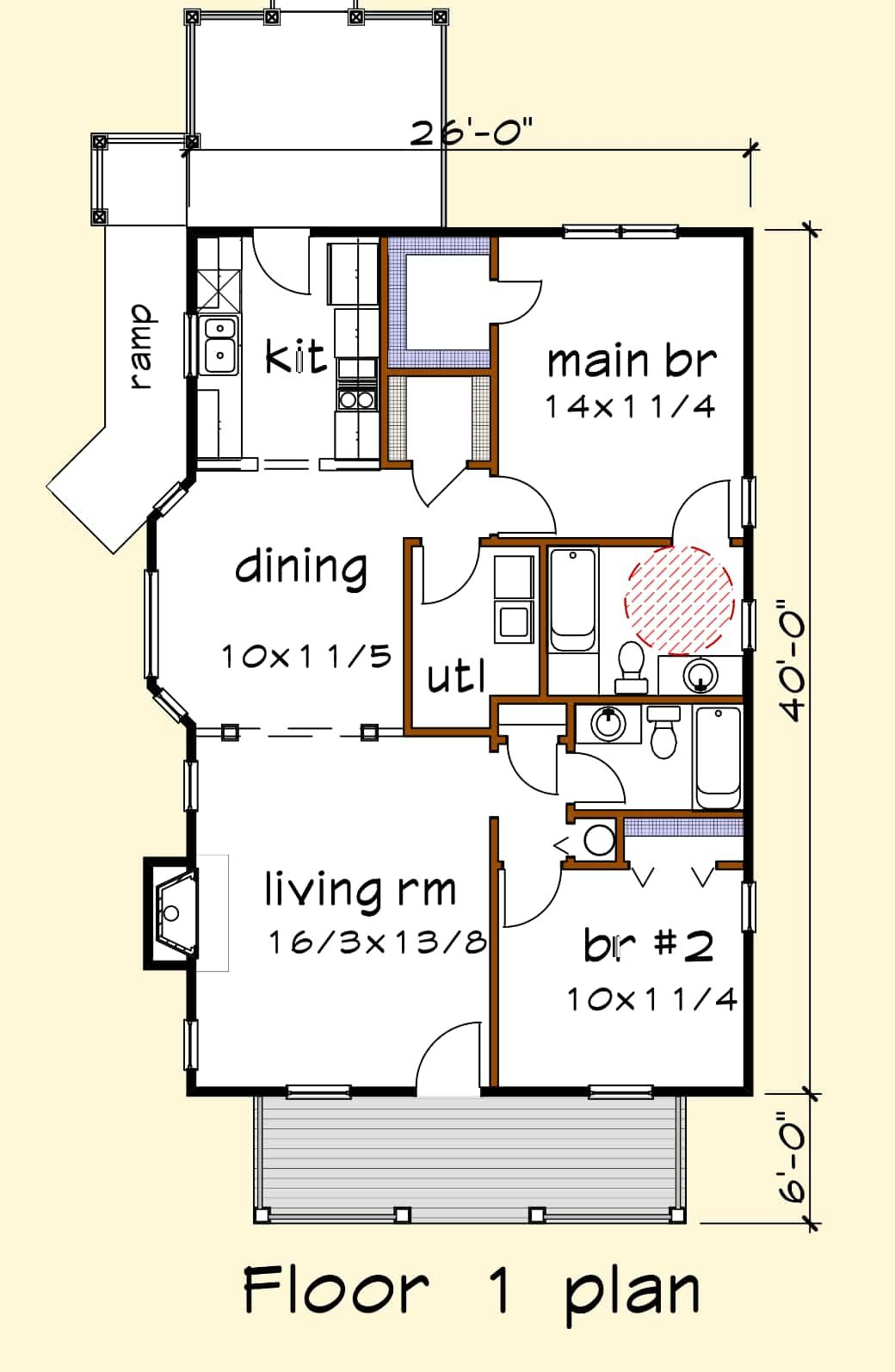 House Plan Ud1014a Universal Design Series Thompsonplans Com House Plans Free House Plans Small House Floor Plans