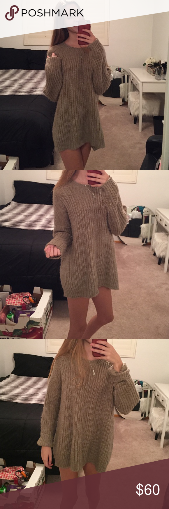 Oversized sweater Brand new oversized sweater. Super vintage and cute. Size M but I'm a XS and it gives it a cute oversized cozy look. No tag it was itchy but bought for $120 in Santa Monica. Will go cheaper on ️️ Brandy Melville Sweaters Crew & Scoop Necks
