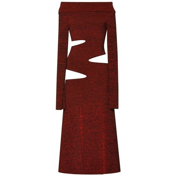 Proenza Schouler Slashed Matte Viscose Off Shoulder Knit Dress (123,800 THB) ❤ liked on Polyvore featuring dresses, sheath dress, red off the shoulder dress, long sleeve cut out dress, knit dress and off shoulder dress