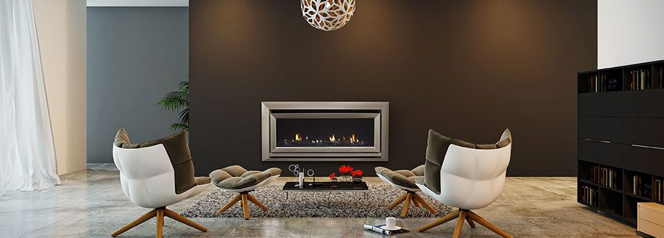 Escea DL1100 Gas Fireplace In A Modern Living Space With Brown Feature Wall