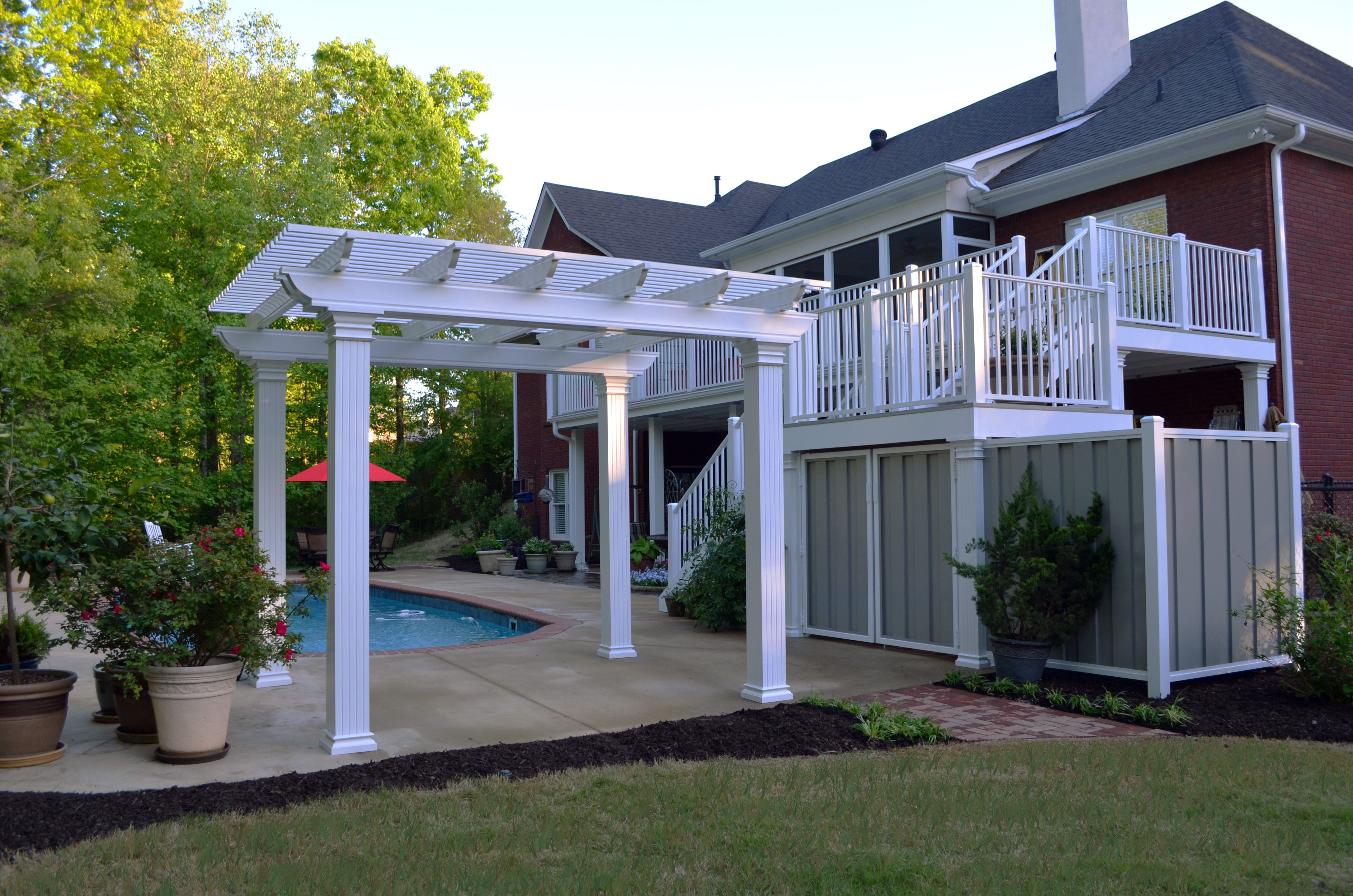 coolbreeze aluminum pergola with a complete aluminum deck from nexan. Black Bedroom Furniture Sets. Home Design Ideas