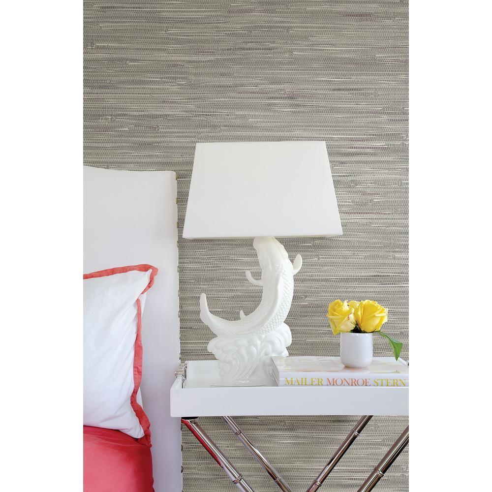 Brewster Natalie Grey Faux Grasscloth Wallpaper 270422268