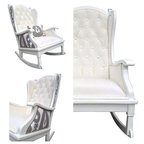I Am In Love With This Upholstered Painted Rocker Rocking Chair Tufted By  OrangeNolive