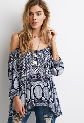 Open-Shoulder Brocade Print Top | Forever 21 | #thespringcollection