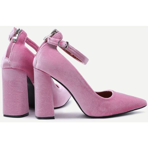 41a07bc63f2 SheIn(sheinside) Pink Velvet Point Toe Ankle Strap Heeled Pumps ( 32 ...