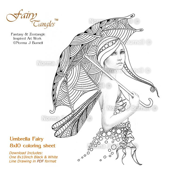 Fairy Tangles: Umbrella Fairy - Fairy Tangles Coloring Book Page for ...
