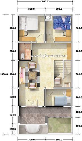 denah rumah dua lantai dengan luas lahan 78m2 5 kamar