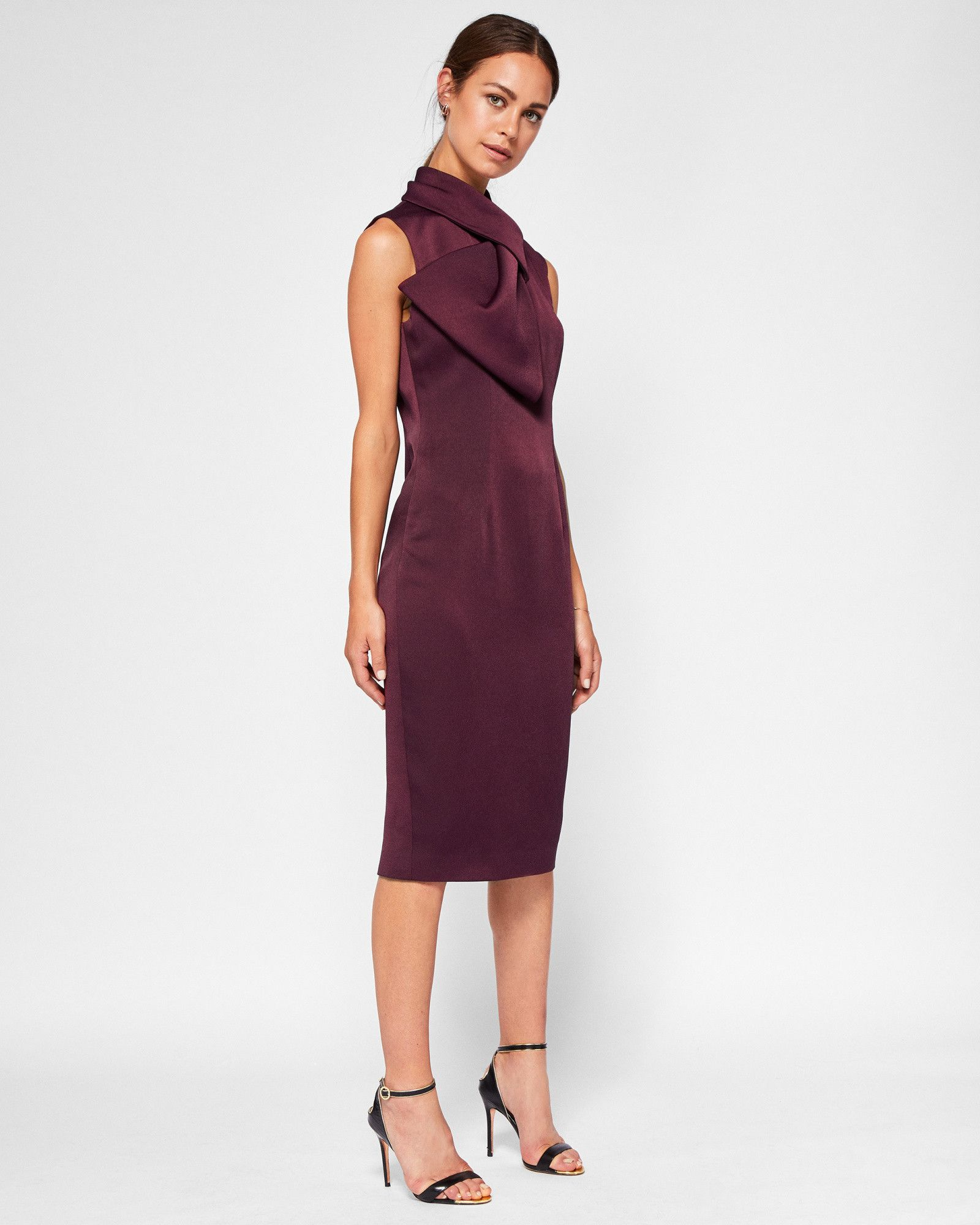 e46045a62f8b Layered bow midi dress - Maroon
