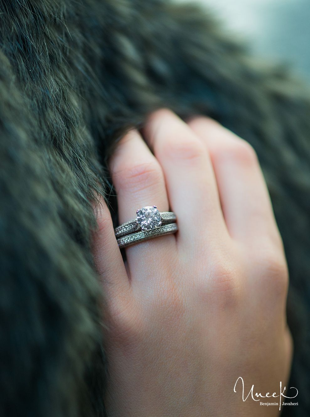 Uneek Fine Jewelry Round Diamond Solitaire Engagement Ring with ...