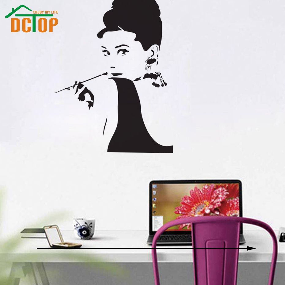 Audrey hepburn wall stickers home decor smoking girl wall decals