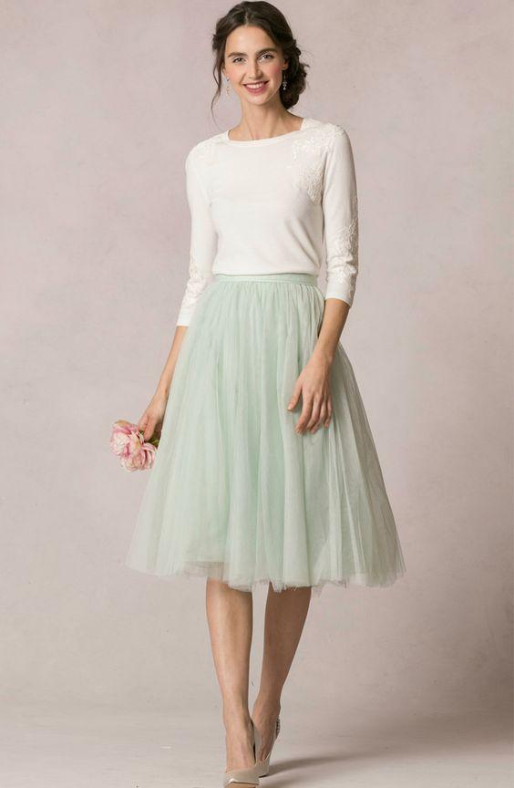 26856fcf015 Romantik Midi Rock in mintgrün. Festlich und sommerlich. Modest Fashion