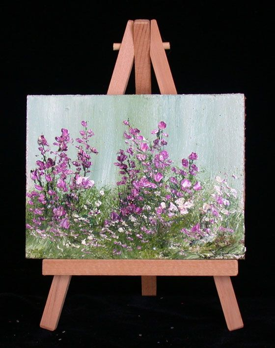 Garden Flowers,  39, 3x4,inches, includes easel, original oilpainting Impressionism is part of Garden Flowers  Xinches Includes Easel Original - valdasfineart
