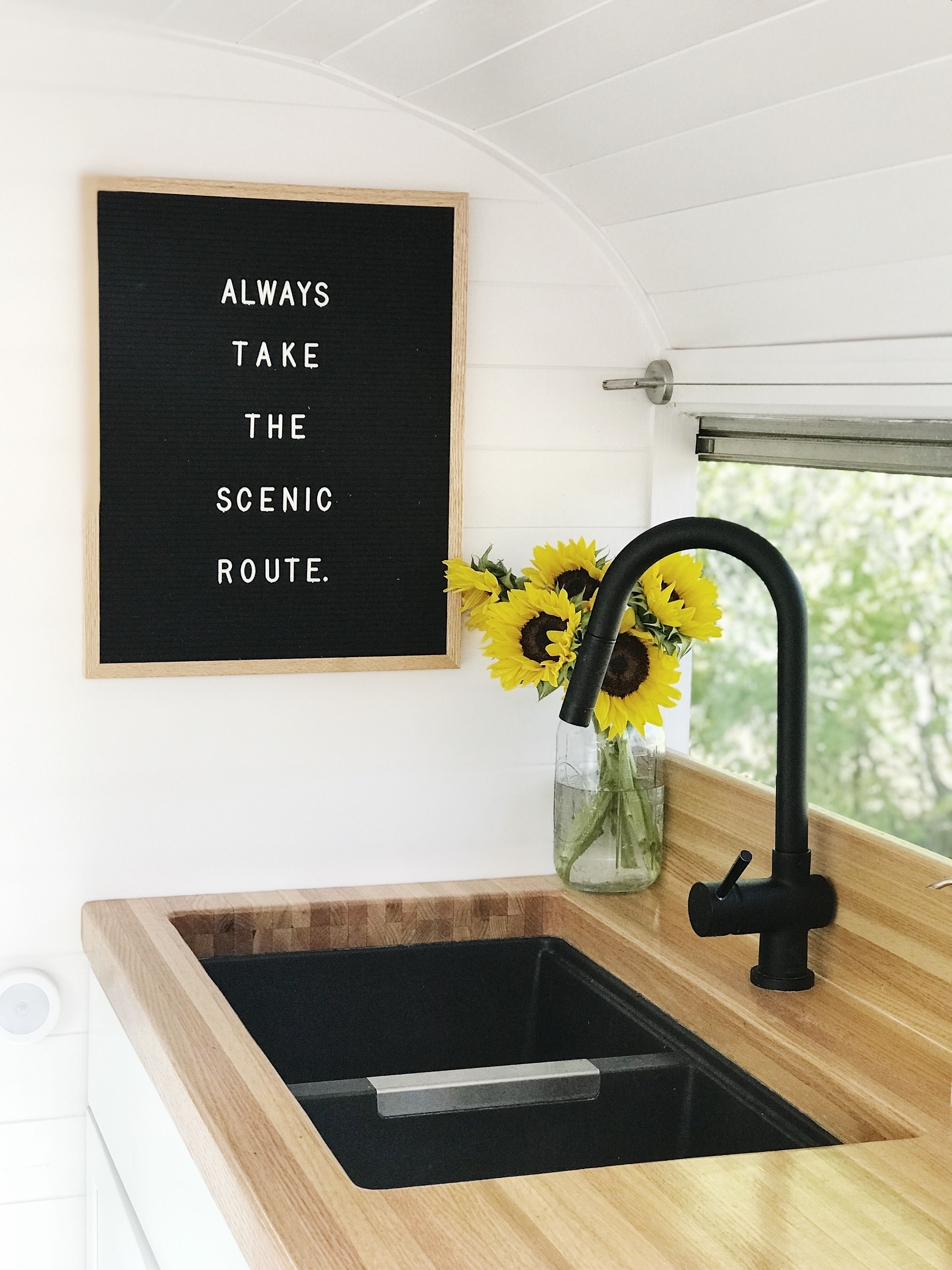 Skoolie Kitchen, Converted School Bus, Tiny House