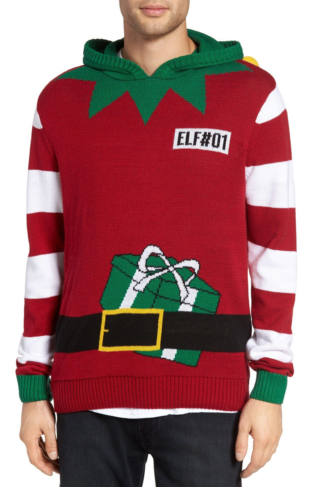 Elf Hooded Sweater   Ugly Christmas Sweaters   Pinterest   Hooded ...