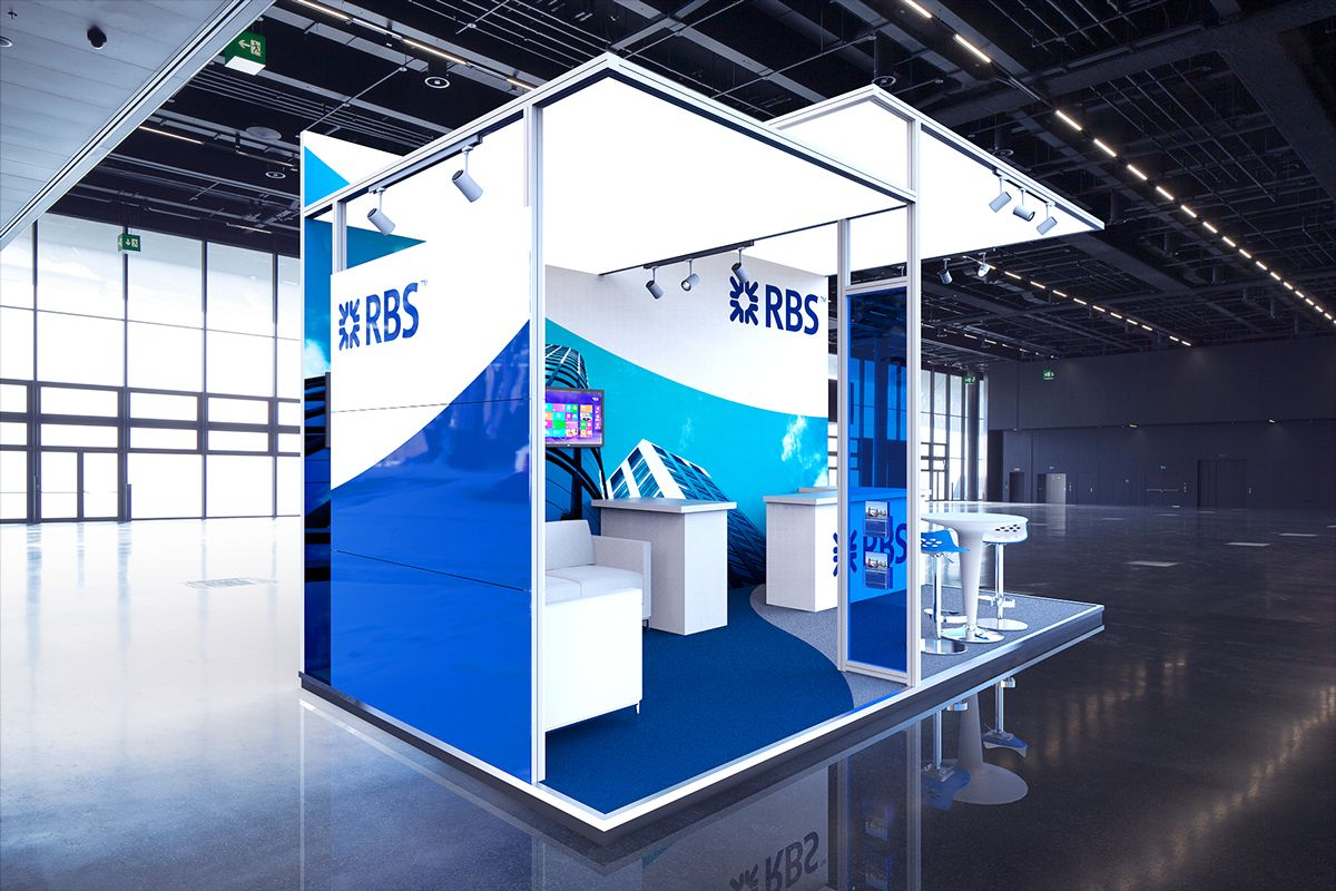 Exhibition Stand Visualisation : Rbs modular stand 3d visualisation on behance system stands