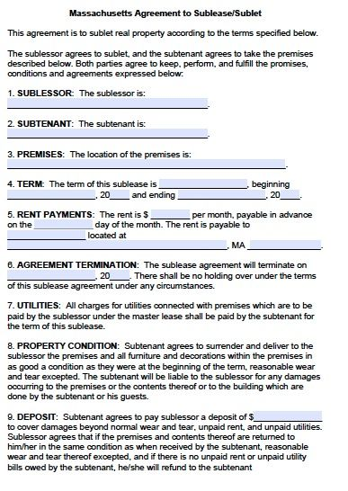 Free Massachusetts Sublease Agreement Form u2013 PDF Template - lease agreement printable