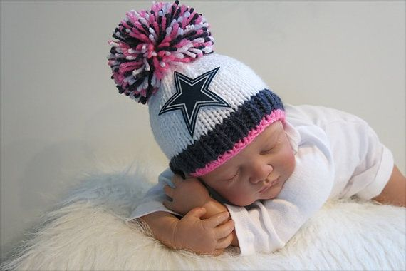 new concept 65f03 68071 Dallas Cowboys Baby Girl Beanie Hat in Stark White with Dark ...